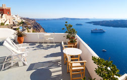 Breathtaking view of the caldera from hotel balcony in Fira, Santorini, Greece. Royalty Free Stock Photography