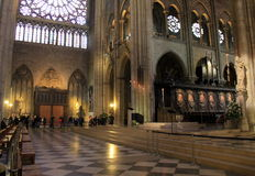 Breathtaking view inside Notre Dame Cathedral,Paris,France,2016 Royalty Free Stock Image