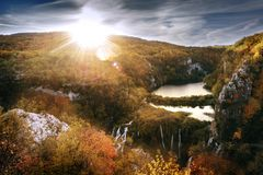 Breathtaking view of the most famous waterfalls in Plitvice nati royalty free stock photos
