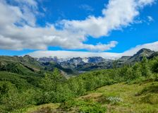 Stunning view on Myrdalsjokull glacier, hiking in Thorsmork, southern Iceland stock images