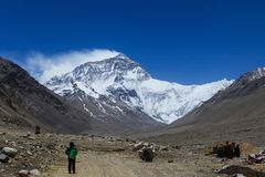 Breathtaking view of the north face of Everest mountain,Tibet Stock Images