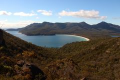 Breathtaking view over wineglass bay  from the lookout at coles bay. Breathtaking view over wineglass bay from the lookout at coles bay in Tasmania Australia Royalty Free Stock Image