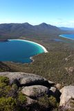 Breathtaking view over wineglass bay  from the lookout at coles bay. Breathtaking view over wineglass bay from the lookout at coles bay in Tasmania Australia Stock Image