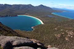 Breathtaking view over wineglass bay  from the lookout at coles bay Stock Photos