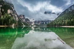 Breathtaking view of Pragser Wildsee in Dolomites, Europe Royalty Free Stock Photos