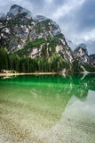 Breathtaking view of Pragser Wildsee in Dolomites Stock Images