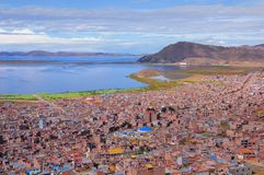 Breathtaking view of Puno by Titicaca lake. Peru. Stock Images