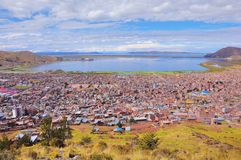 Breathtaking view of Puno by Titicaca lake. Stock Image