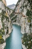 Breathtaking view of river passage flowing through hills Congost de Mont Rebei, Catalunya, Spain stock images