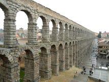 The Breathtaking View of Roman Aqueduct of Segovia in the Rainy Day, Segovia Stock Photo