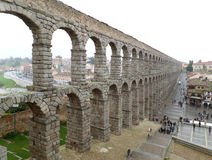 The Breathtaking View of Roman Aqueduct of Segovia, Spain Stock Photo