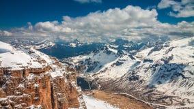 Breathtaking view from Sass Pordoi peak, Dolomites, Italy. Europe Stock Photo