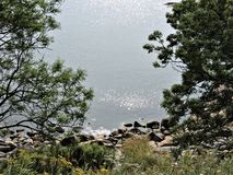 Breathtaking view of silver waves of Baltic sea from island Sveaborg in Finland! royalty free stock photo