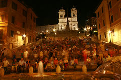Breathtaking view of Spanish steps at night Royalty Free Stock Photography