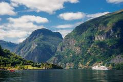 Breathtaking view of Sunnylvsfjorden fjord and cruise ship. western Norway royalty free stock image