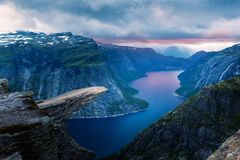 Breathtaking view of Trolltunga rock stock photo