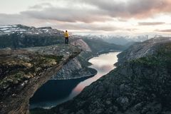 Breathtaking view of Trolltunga rock stock image