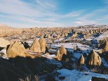 Breathtaking view of Valley in winter season, Cappadocia nationa Royalty Free Stock Photo