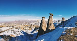 Breathtaking view of Valley in winter season, Cappadocia nationa Stock Photo