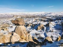 Breathtaking view of Valley in winter season, Cappadocia nationa Stock Image