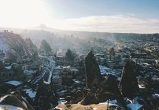Breathtaking view of Valley in winter season, Cappadocia nationa Royalty Free Stock Image