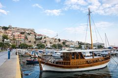 Old town and port in Greek city of Kavala royalty free stock photo