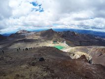 Breathtaking volcanic landscape view from the top of mount Ngauruhoe. One of the great walks in New Zealand, North Island. The mos royalty free stock photo