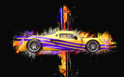 Breathtaking yellow supercar with purple stipes. Abstract 3D illustration Royalty Free Stock Image