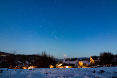 Breb village in Romania under the Milky Way stock images