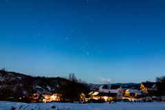 Breb village in Romania under the stars stock photo