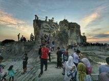 Breccia Cliff when Holiday. Tebing Breksi or breccia cliff is a tourist place located in the district of Sleman, Yogyakarta, Indonesia. Breccia cliffs have a Stock Photos