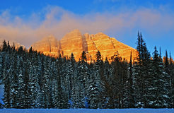 Breccia Peak and clouds glowing in the afternoon sun on Togwotee Pass Royalty Free Stock Photo