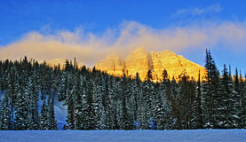Breccia Peak glowing in the afternoon sun on Togwotee Pass Stock Photos
