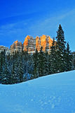 Breccia Peak glowing in the afternoon sun on Togwotee Pass Royalty Free Stock Photo