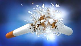 Brechen der Zigarette auf blauem Hintergrund stock abbildung