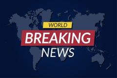 Brechen des neuen Hintergrundes Weltnachrichtenfahne auf Weltkartehintergrund vektor abbildung