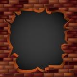 Brechen durch eine Backsteinmauer mit einem Loch stock abbildung