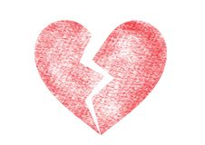 Brechen Sie oben, gebrochenes, defektes Herz, Herz, Leidikone lizenzfreie abbildung