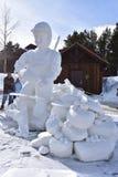 Breckenridge, Κολοράντο, ΗΠΑ: Στις 28 Ιανουαρίου 2018: Γλυπτό χιονιού σύλληψης και απελευθέρωσης από την ομάδα Breckenridge 2018 Στοκ εικόνες με δικαίωμα ελεύθερης χρήσης