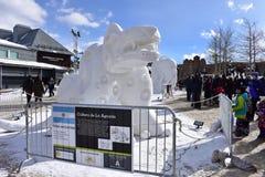 Breckenridge, Κολοράντο, ΗΠΑ: Στις 28 Ιανουαρίου 2018: culture de Λα aguada ανταγωνισμός γλυπτών χιονιού από την ομάδα Αργεντινή Στοκ Εικόνες