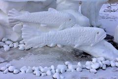 Breckenridge, Колорадо, США: 28-ое января 2018: Задвижка Breckenridge и скульптура снега отпуска командой Breckenridge Стоковые Изображения
