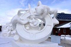 Breckenridge, Колорадо, США: 28-ое января 2018: Скульптура снега времени командой Монголией 2018 Стоковые Фотографии RF