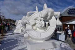Breckenridge, Колорадо, США: 28-ое января 2018: Скульптура снега 2018 времен командой Монголией Стоковая Фотография RF