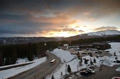 Breckenridge Colorado at dusk. Ski town Breckenridge Colorado at sunset stock photos