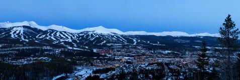Breckenridge Colorado. Panorama view of Breckenridge Colorado during the blue hour royalty free stock photos