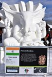 Breckenridge, Colorado, USA: Jan 28, 2018: Breckenridge Snow Sculpture by Team India. Breckenridge International Snow Sculpture Championships - Snow artists from Royalty Free Stock Image