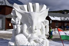 Breckenridge, Colorado, USA: Jan 28, 2018: God Ganesha Snow Sculpture by Team India. Breckenridge International Snow Sculpture Championships - Snow artists from Stock Image