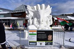 Breckenridge, Colorado, USA: Jan 28, 2018: 2018 God Ganesha Snow Sculpture by Team India. Breckenridge International Snow Sculpture Championships - Snow artists Royalty Free Stock Image