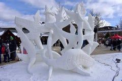 Breckenridge, Colorado, USA: Jan 28, 2018: Team Wisconsin- Vogt: `A Dance Devine`. Breckenridge International Snow Sculpture Championships - Snow artists from Royalty Free Stock Photo