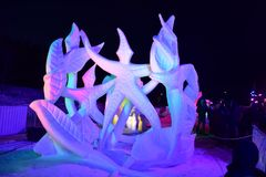 Breckenridge, Colorado, USA: Jan 28, 2018: Team Wisconsin- Vogt: `A Dance Devine` at Night Snow Sculpture. The 28th Annual International Snow Sculpture Royalty Free Stock Image